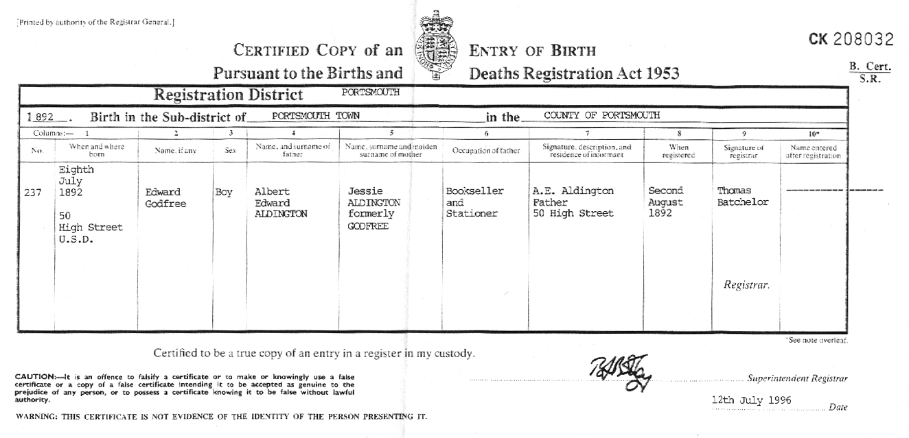 Richard aldington resources a copy of ras birth certificate can be viewed here the image of the certificate shown here is a link to a much larger 294k image xflitez Gallery